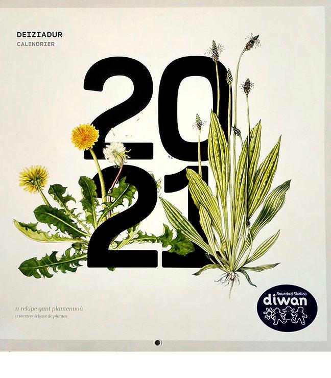 Diwan 2021 deiziadur, calendrier Diwan créé par l'école Diwan du Faou