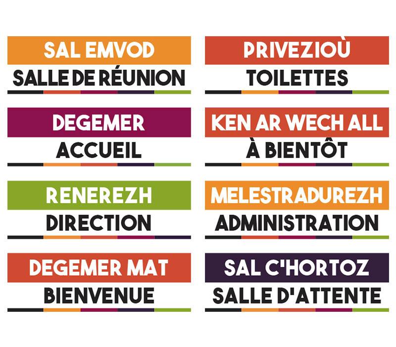 planche autocollants bilingue breton signalétique entreprise bureaux