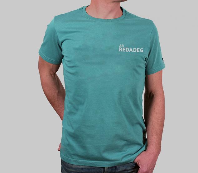t-shirt glas-gwer bleu canard ar redadeg paotred hommes